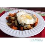 Bacon, sweet potato, apple hash with fried egg
