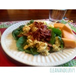 Breakfast: Bacon, scrambled eggs, spinach and melon