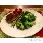 Dinner: Pan roasted lemon chicken, roasted asparagus with broccoli and strawberries