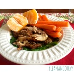 Lunch: Leftover Pan Roasted Lemon Chicken over wilted spinach with carrots and clementine