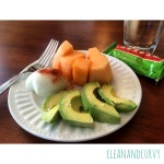 Hard boiled egg with paprika, cantaloup, 1/2 avocado with sea salt