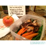 Leftover pan roasted lemon chicken with spinach, carrots and apple