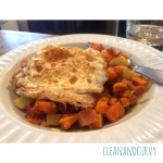 Bacon, sweet potato, apple hash with fried egg