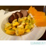 Pork tenderloin with sauteed squash and onions with clementine
