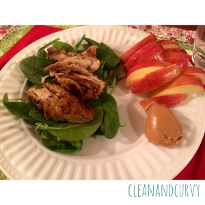 Pan-roasted lemon chicken over spinach with apple + almond butter