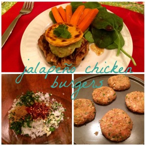 Jalapeno chicken burgers on sweet potato buns with spinach salad